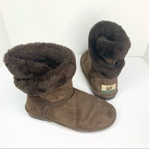 💕Lamo faux fur wrap around leather winter boots
